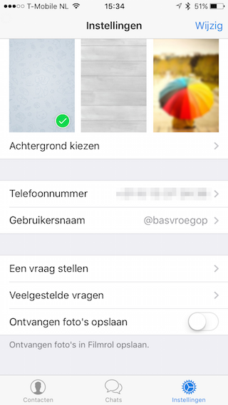 Telegram gebruikersnaam