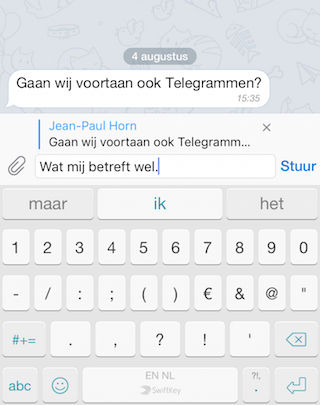 Telegram replies voor