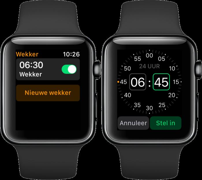 Wekker instellen op de Apple Watch.