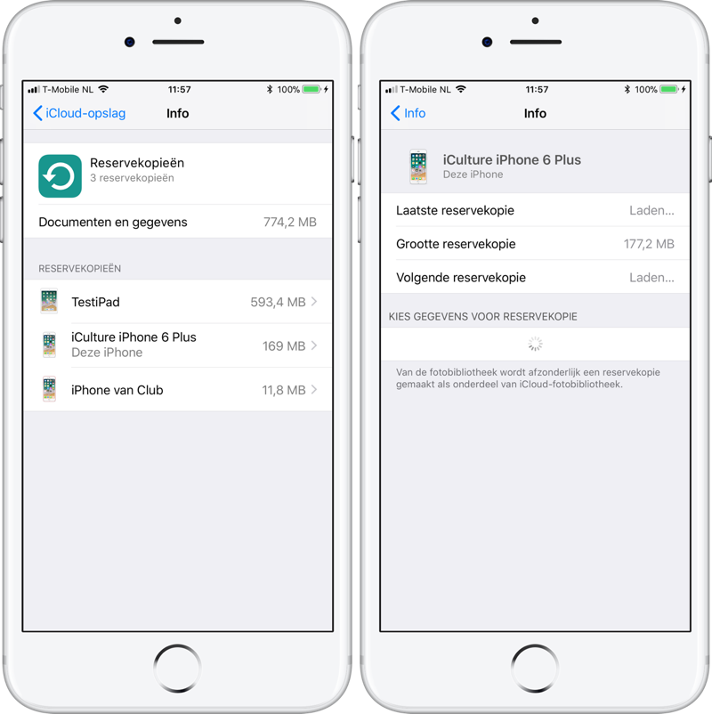 iCloud opruimen: backups bekijken