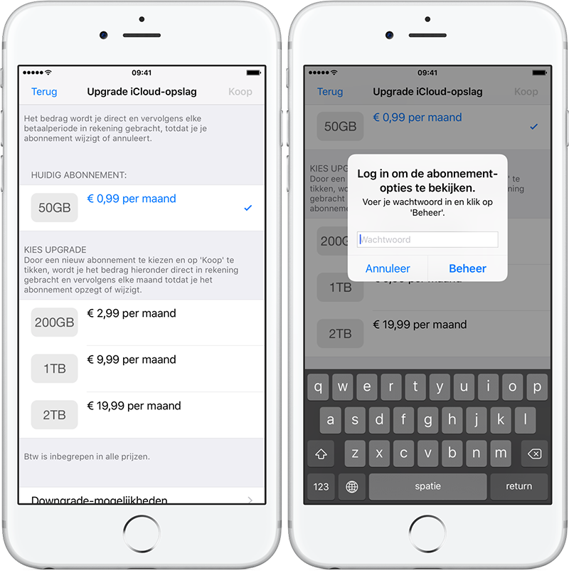 iCloud opslag upgraden downgraden