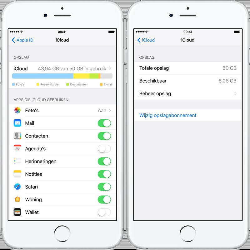 iCloud opslag upgraden