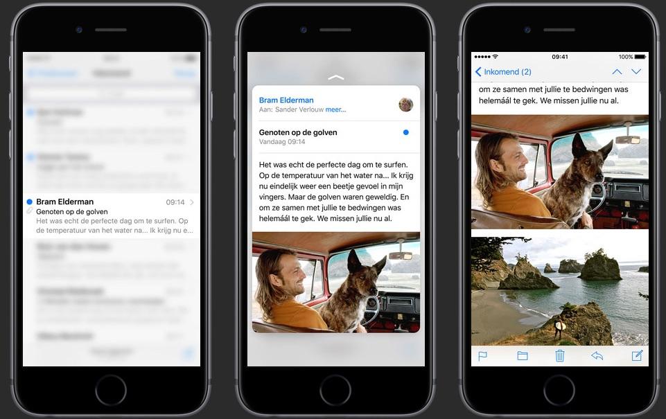 Peek & Pop gebruiken in de Mail app op een iPhone 6s dankzij 3D Touch.