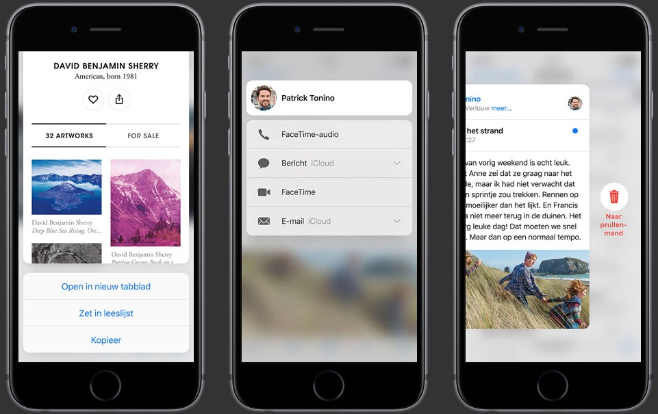 Quick Actions in verschillende apps dankzij 3D Touch op een iPhone 6s.