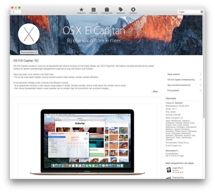 El Capitan uit de Mac App Store