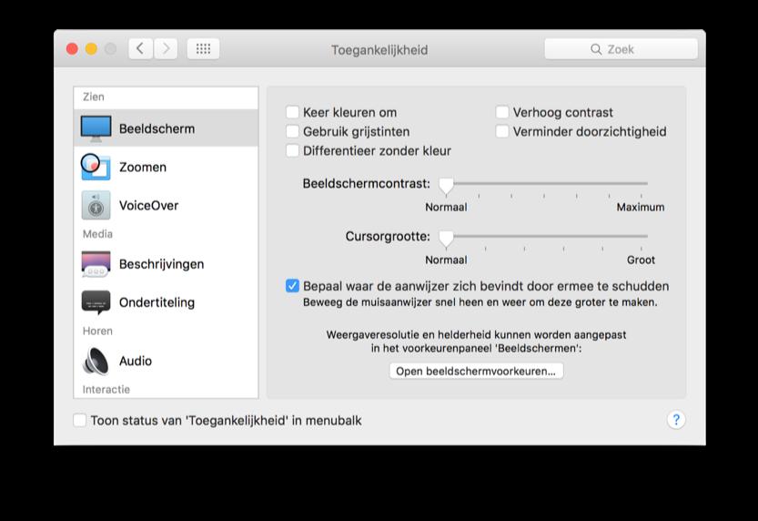 Via de Toegankelijkheid-instellingen zet je het vergroten van je cursor met je muis uit.
