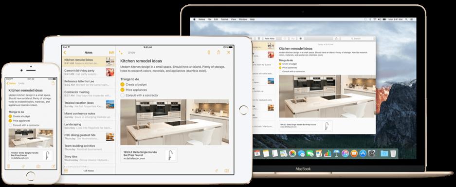 Notities op OS X El Capitan en iOS 9.
