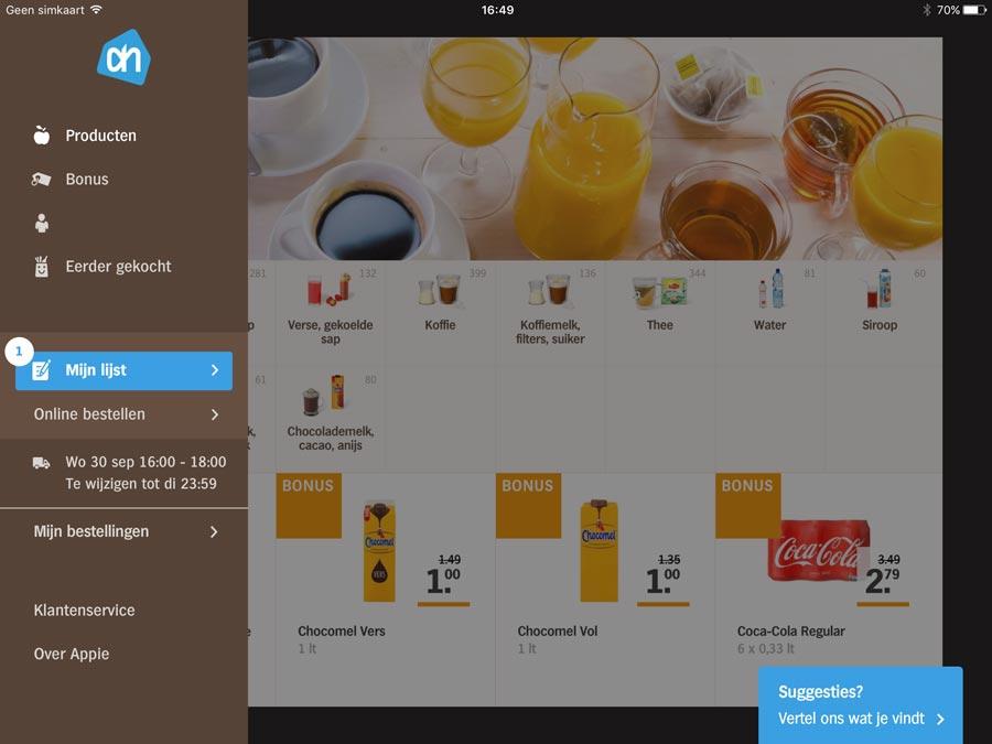 Appie voor iPad met zijmenu
