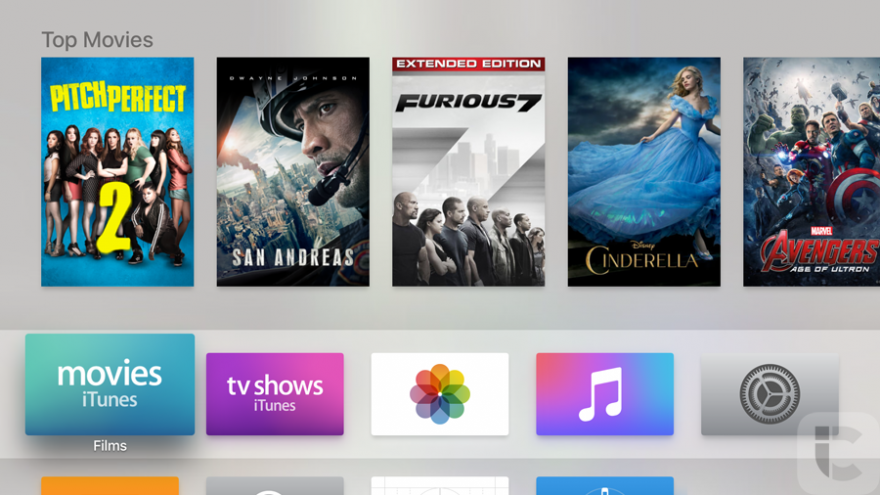 Apple TV 4: homescreen.