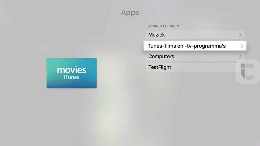 Apple TV 4 apps-scherm