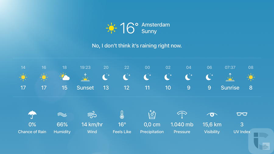 Apple TV 4: weerbericht opvragen, schermvullend.
