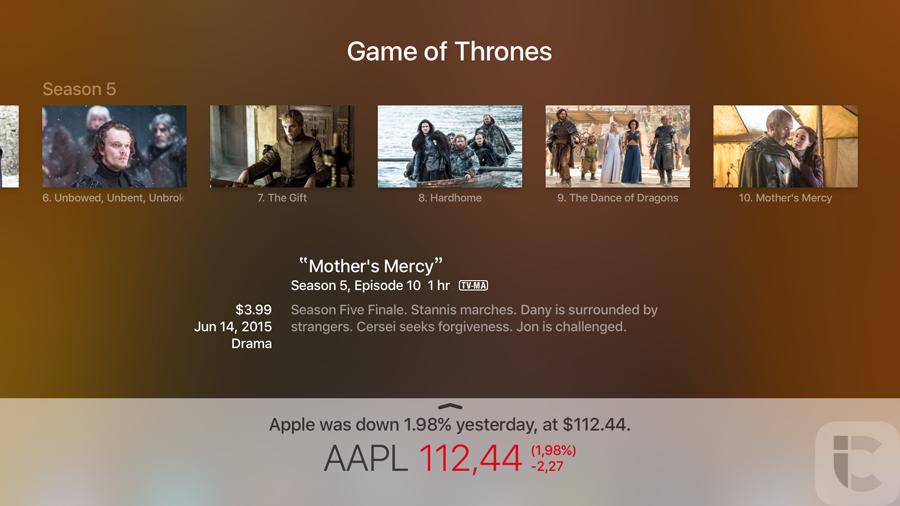 Apple TV 4: aandelenkoersen opvragen, balk onderin het scherm.