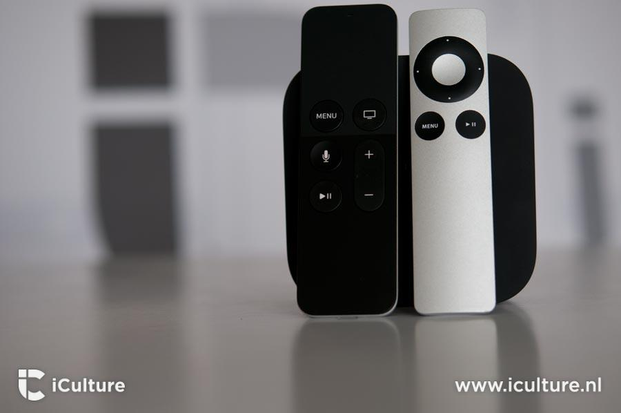 Apple TV 4 remote naast ATV3 remote.