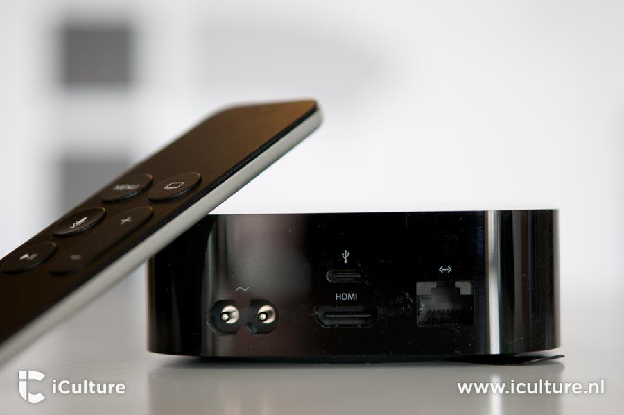 Apple TV 4 aansluitingen achterkant.