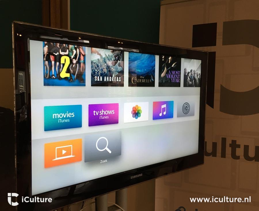 Apple TV 4 televisiescherm vanaf de zijkant.