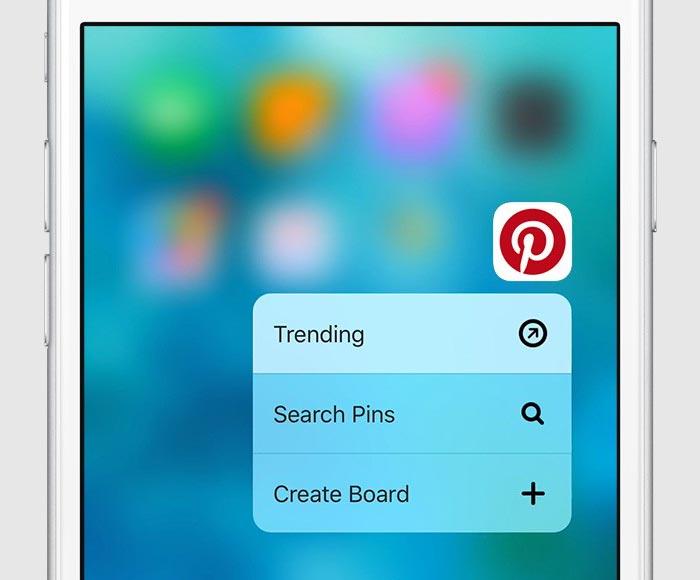 Pinterest 3D Touch