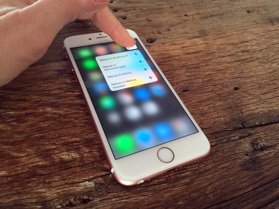 3D Touch in de Fotos-app van iPhone 6s.