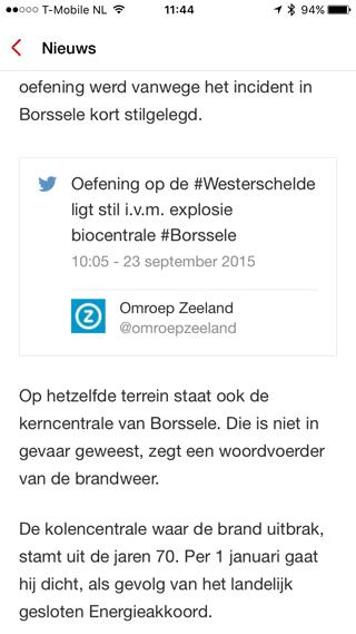 NOS app met storytelling: een artikel met tweet.