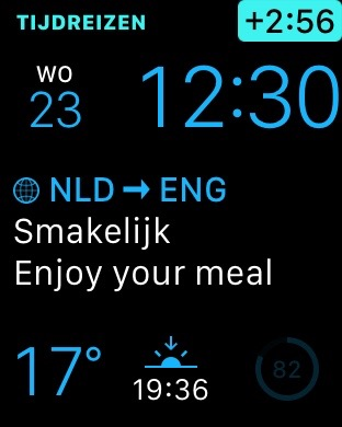 Tijdreizen in iTranslate voor de Apple Watch.