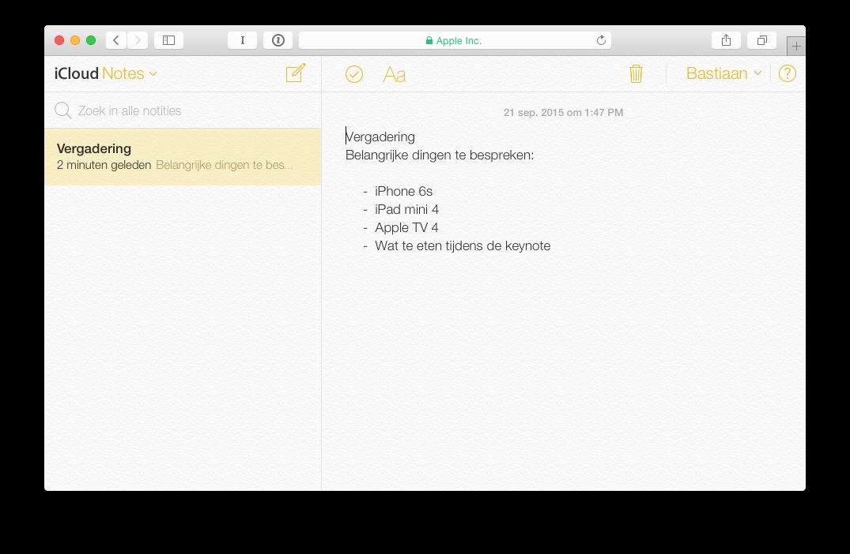 iCloud Notities