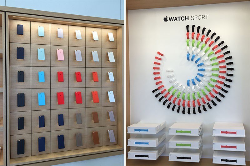Apple Company Store hoezen en Apple Watch-bandjes.
