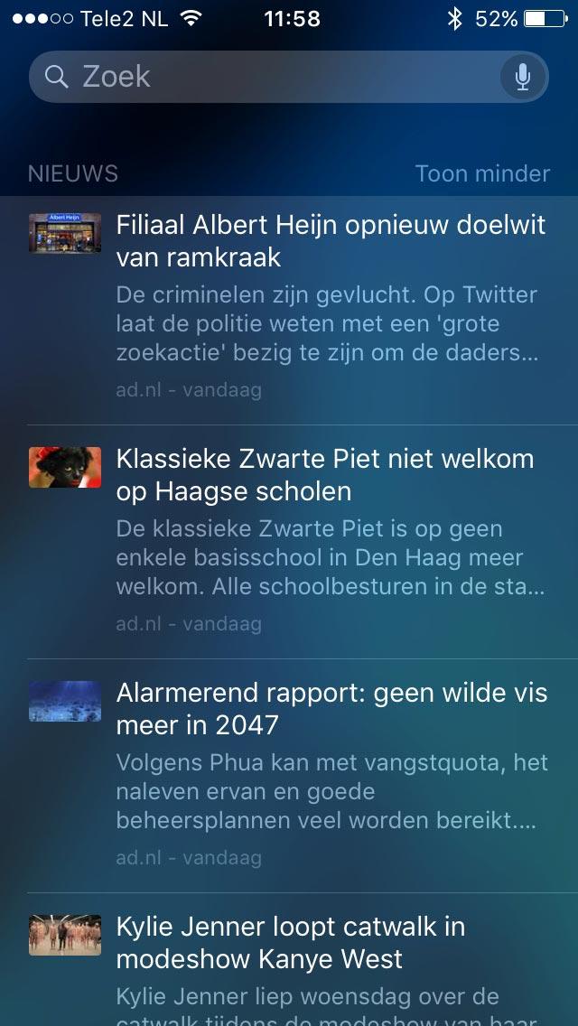 Nieuws in iOS 9.