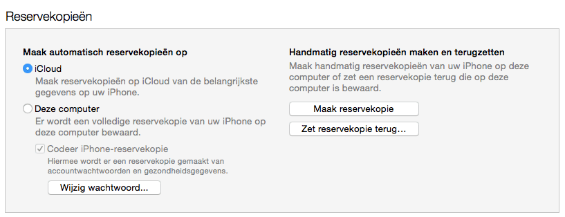 Backup in iTunes maken
