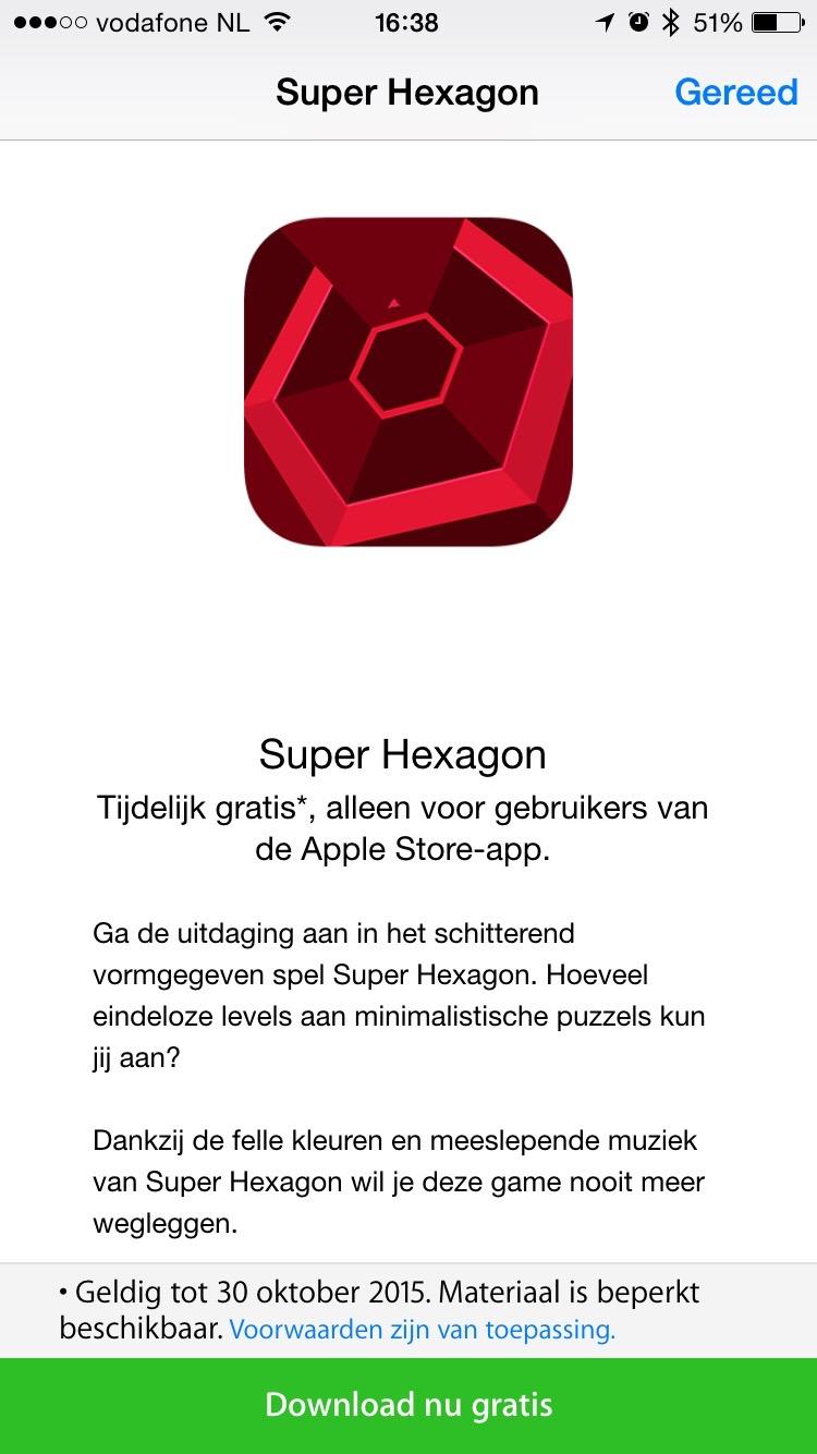 Super Hexagon downloadpagina in Apple Store-app.