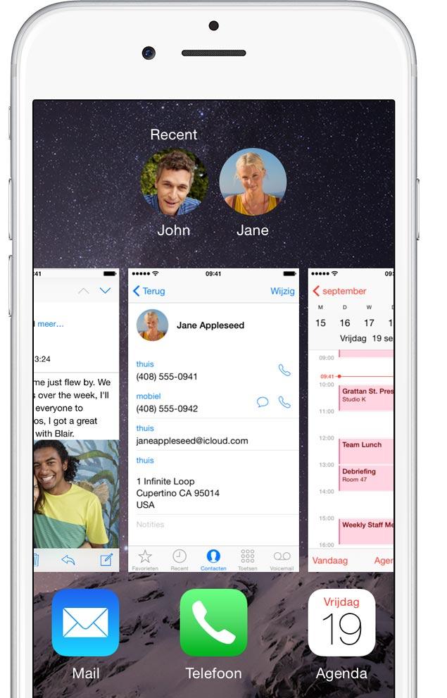 Mail, Contacten en Agenda op iPhone 6.