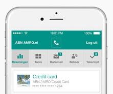 Creditcard bekijken in ABN AMRO app