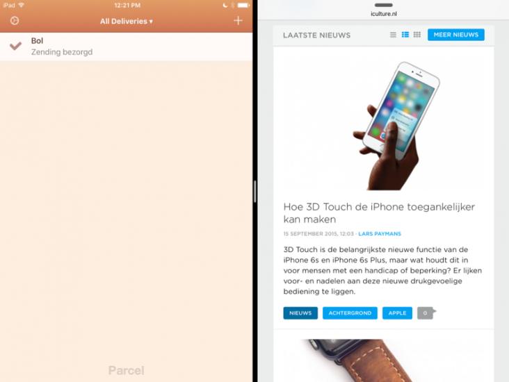 Parcel met multitasking op een iPad met iOS 9.