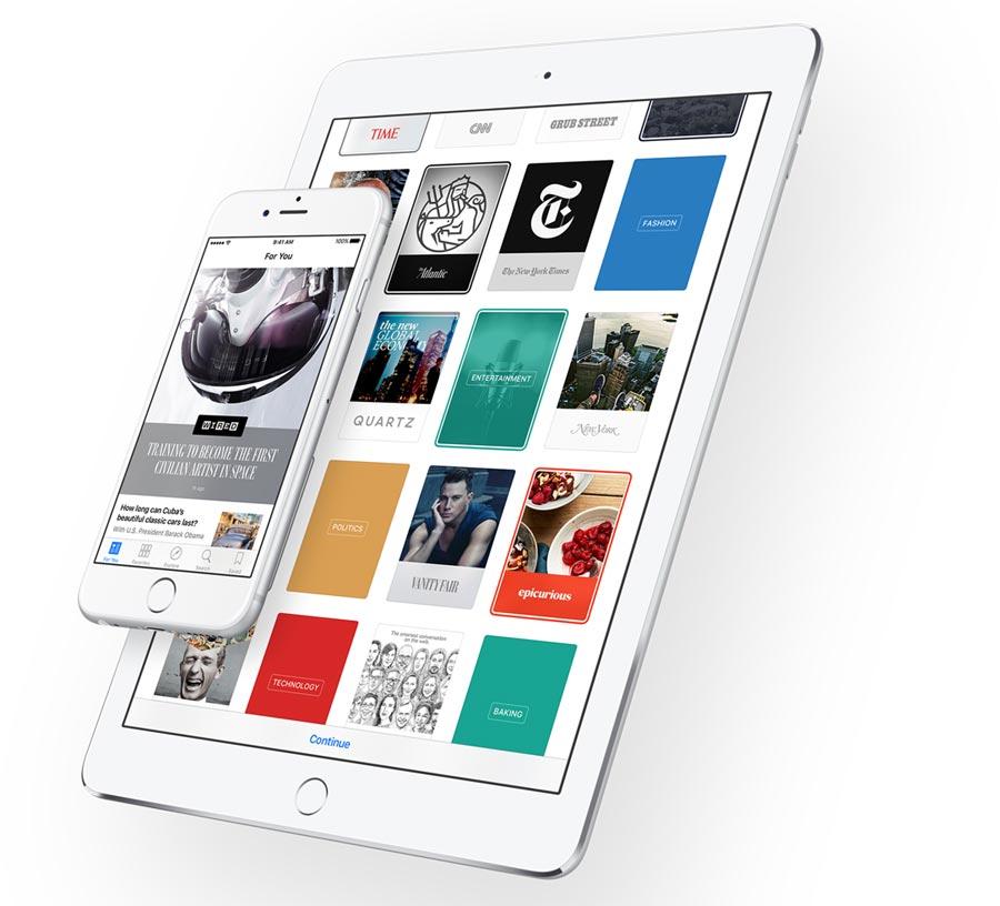 Nieuws-app in iOS 9 op de iPad en iPhone.