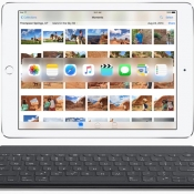 iPad Pro met toetenbord en Foto's app.