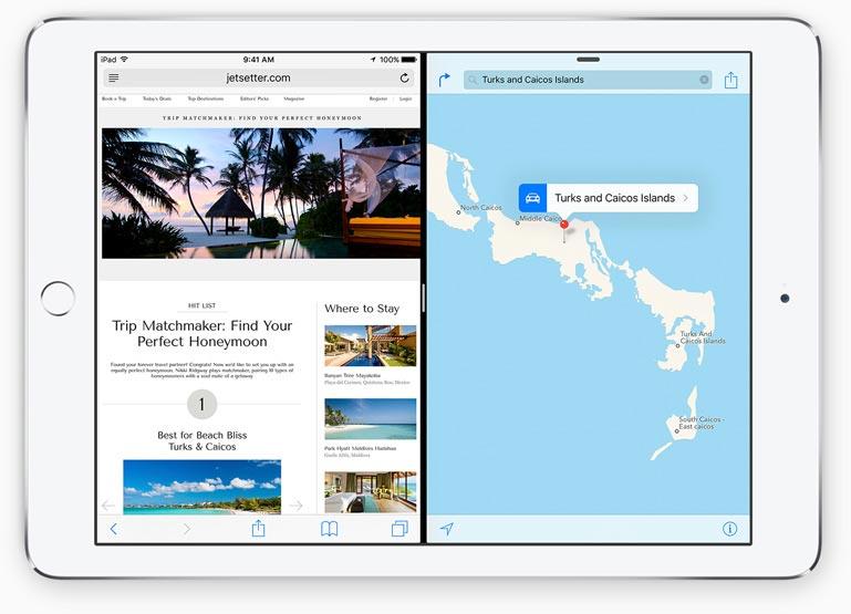 Multitasking in iOS 9 met Splitview op de iPad.