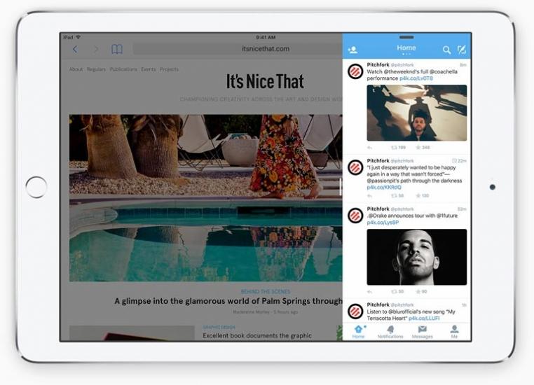 Multitasking met slide-over in iOS 9 op de iPad.
