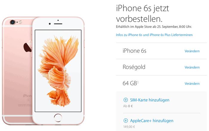 iPhone bestellen in Duitsland: kies met model en de extra's.