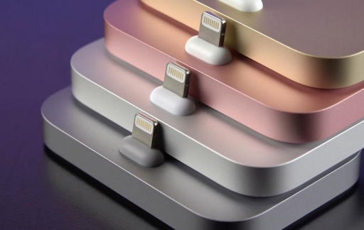 iPhone Lightning Dock in vier kleuren.