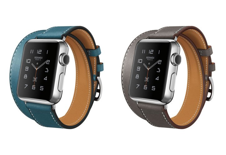 Apple Watch Hermes editie in blauwgroen en bruin.