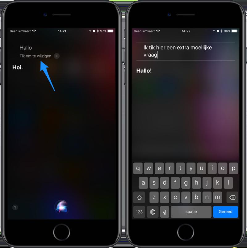 Siri vragen wijzigen