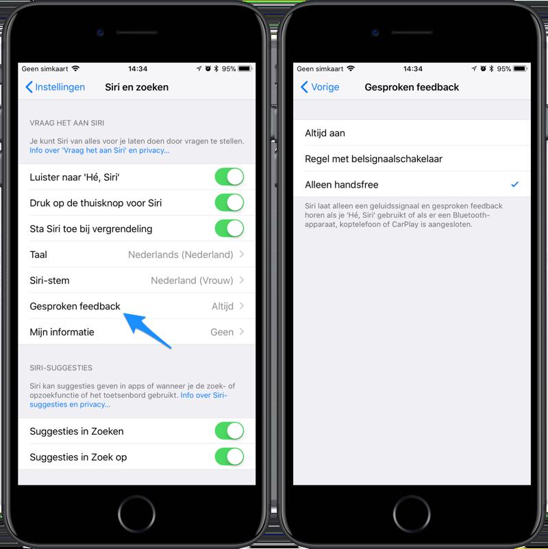Siri gesproken feedback