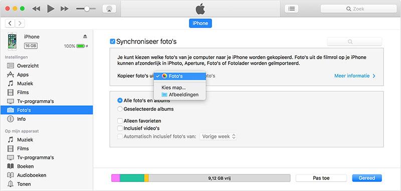 iTunes: foto's overzetten van Android naar iPhone