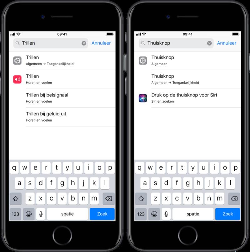 Zoeken in Instellingen op iOS.