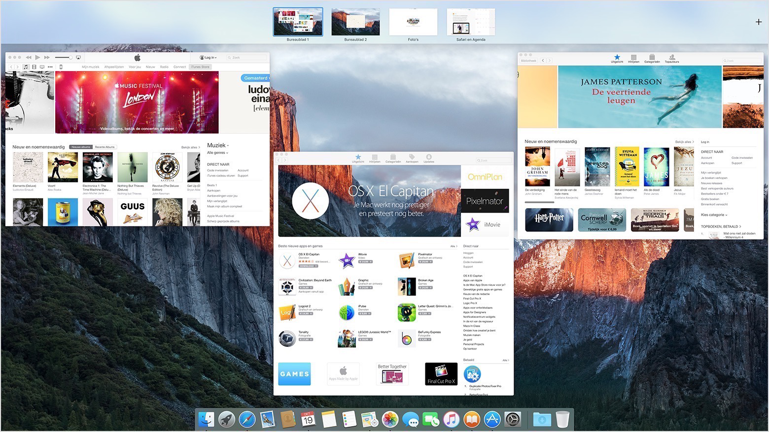Mission Control op de Mac.