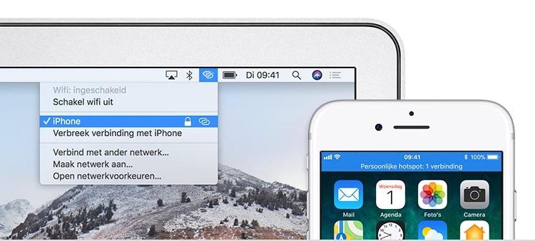Instant Hotspot op een Mac en iPhone.