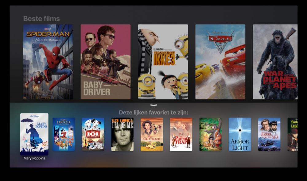 Zoeken naar films met Siri op de Apple TV.
