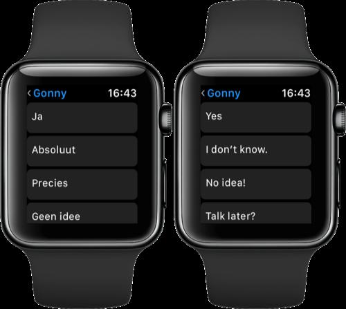 Apple Watch standaardantwoorden in een andere taal.