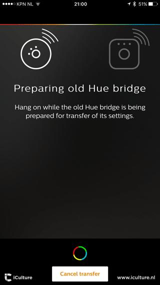 Philips Hue transfer: de oude bridge wordt voorbereid.