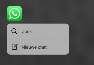 WhatsApp Quick Action met 3D Touch.