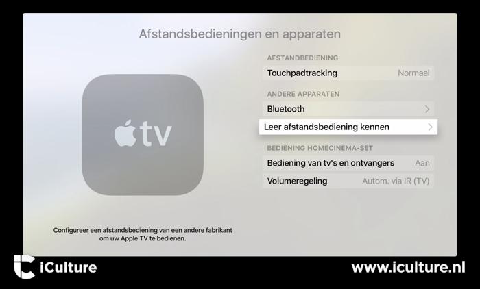 Apple TV afstandsbedieningen leren