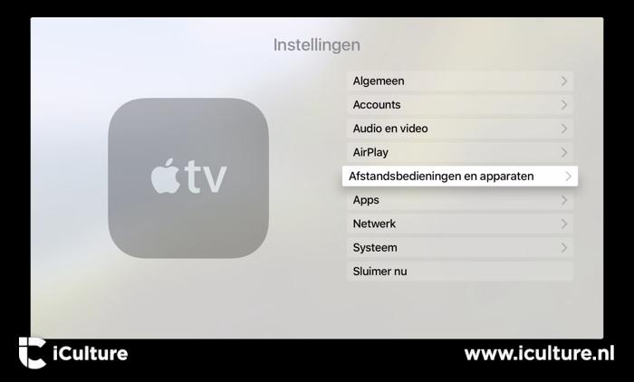 Apple TV instellingen hoofdmenu met afstandsbedieningen